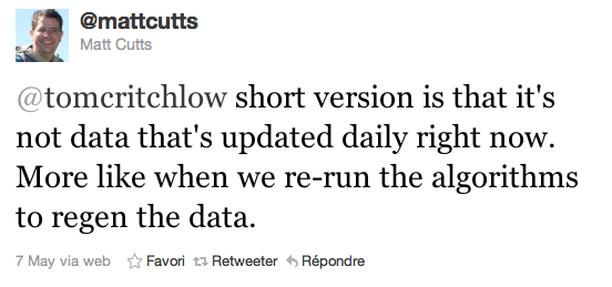 Matt Cutts tweet Panda
