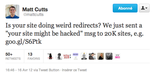Matt Cutts tweet malware