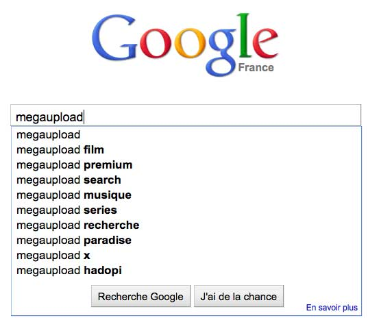 Google Suggest megaupload