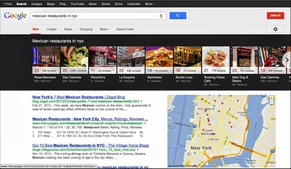 carousel recherches google locales