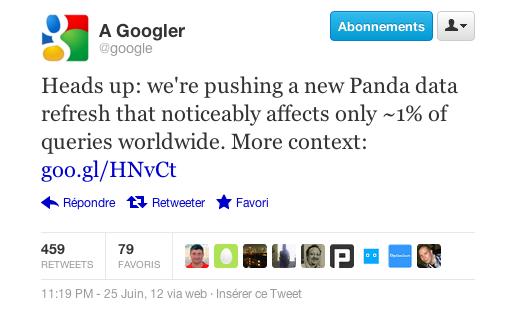 Panda 3.8 tweet