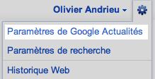 Paramètres Google Actualités