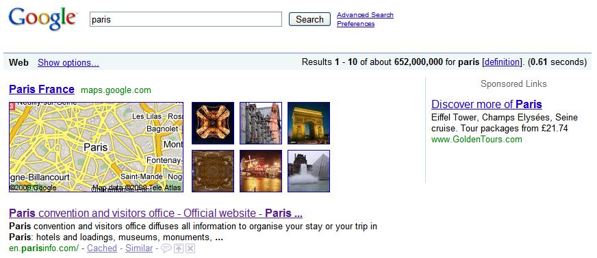requête paris sur google