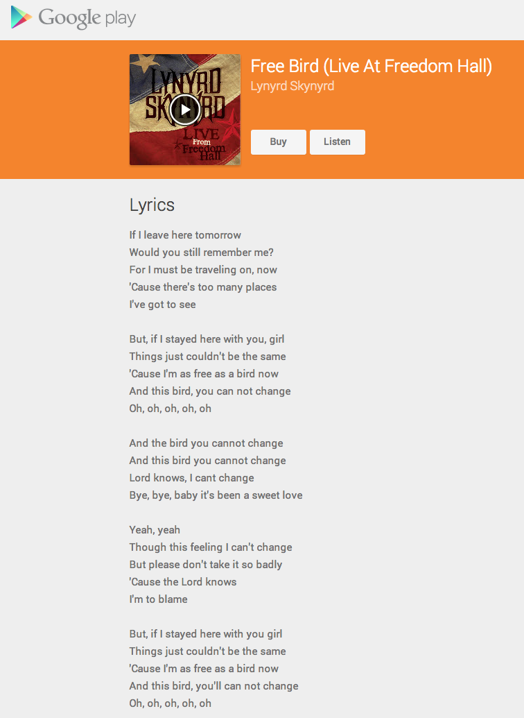 paroles-freebird-google-play