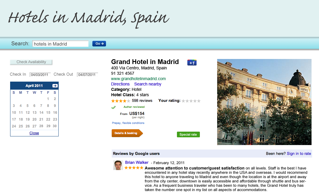 Bouton +1 Madrid Google