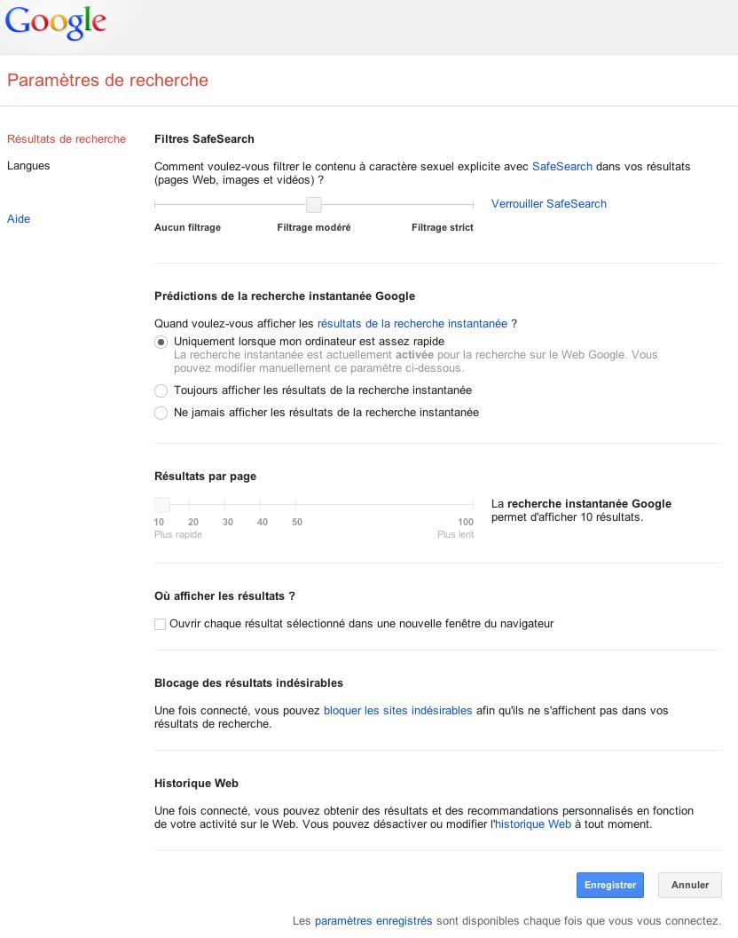 preferences moteurs google