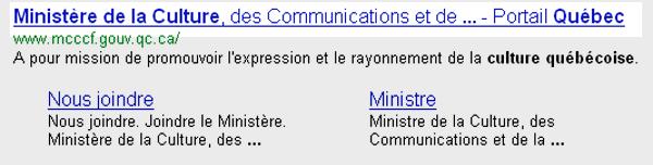 Quebec SERP Google