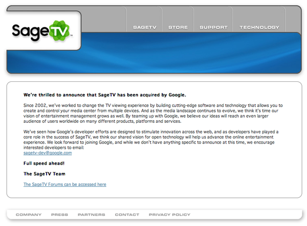 SageTV HomePage