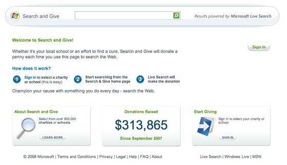 Microsoft Search and Give
