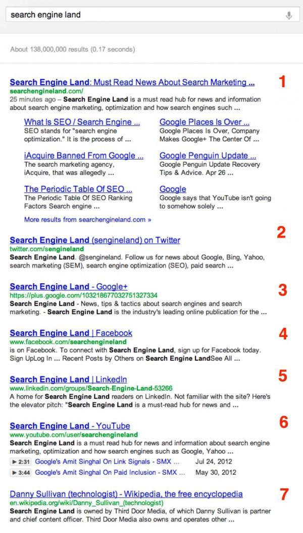 Google 7 liens bleus