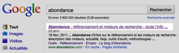 Abondance SERP Google