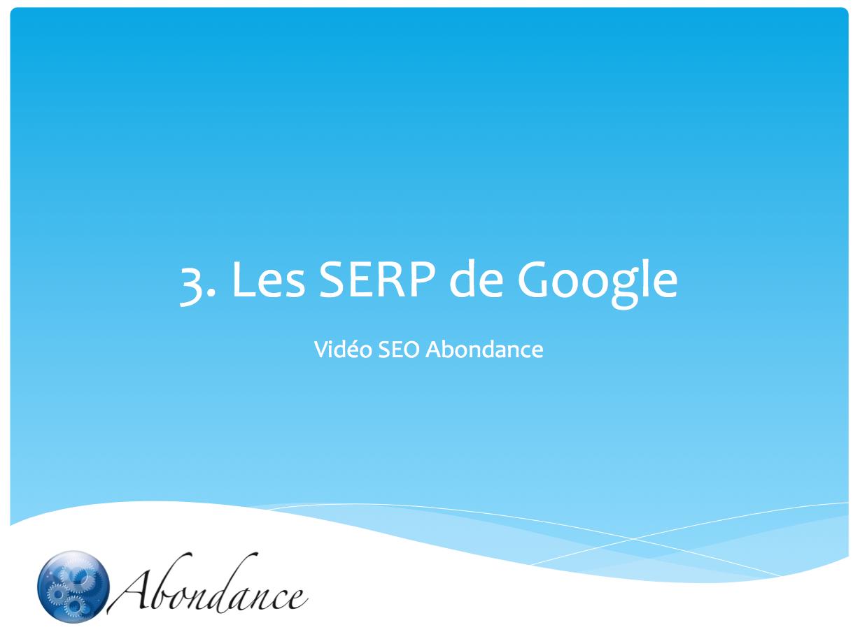 Video N°3 : SERP et SEO
