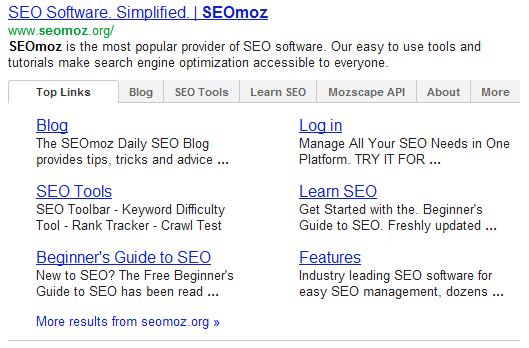 Sitelinks à onglets google