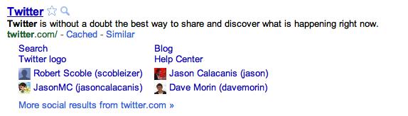 Google social sitelinks