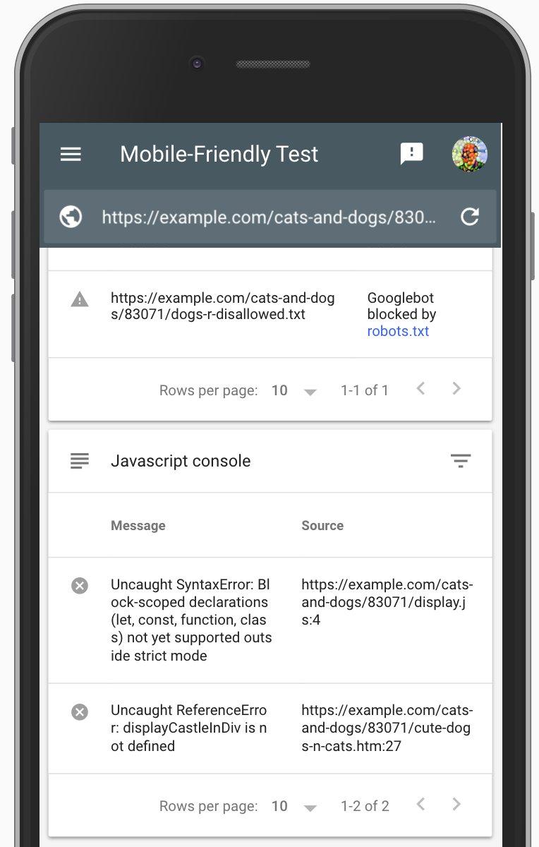 L'outil de test de compatibilité mobile de Google analyse le Javascript