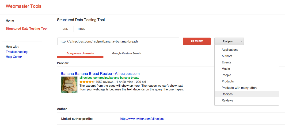 google test rich snippets
