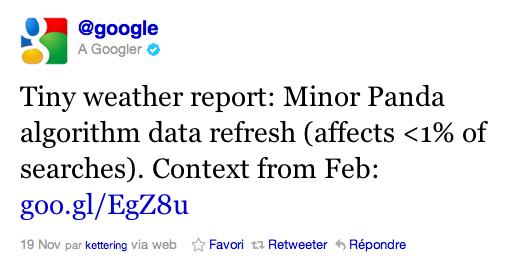 Tweet Google Panda
