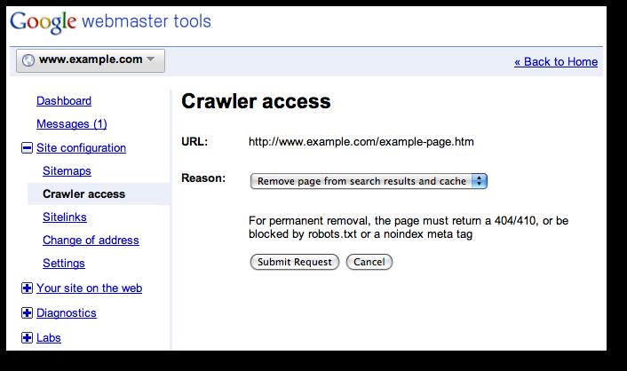 URL removal step 1