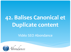 Balise Canonical et Duplicate Content.