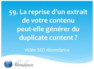 La reprise d'un extrait de vos contenus peut-elle creer du duplicate content ?  Vidéo SEO