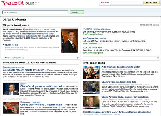 Yahoo! Glue Barack Obama