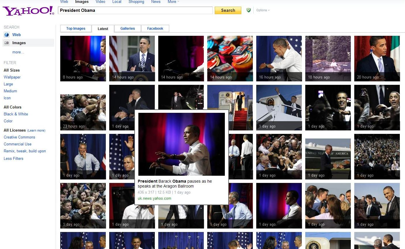 Yahoo! Images nouvelle interface