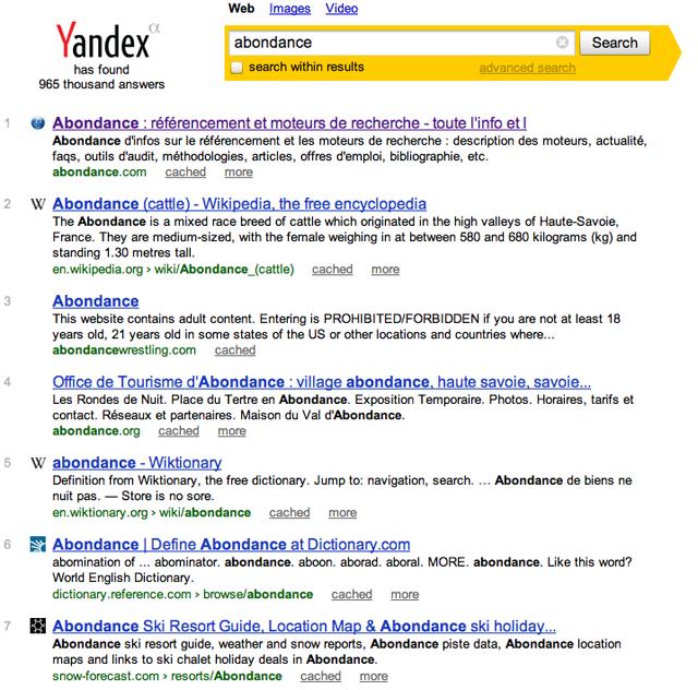 Yandex SERP