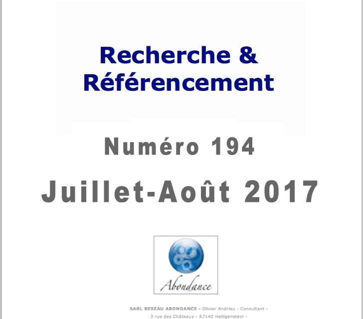 Recherche et Référencement : le Numéro 194 de Juillet-août 2017 est Paru !