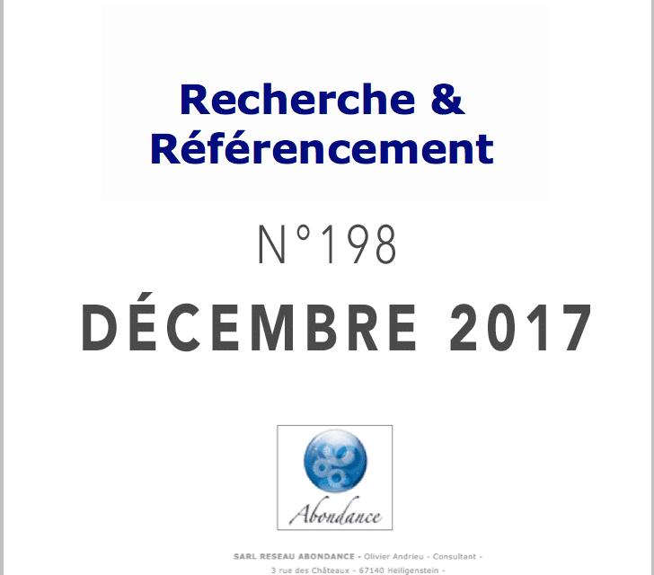 Recherche et Référencement : le Numéro 198 de Décembre 2017 est Paru !