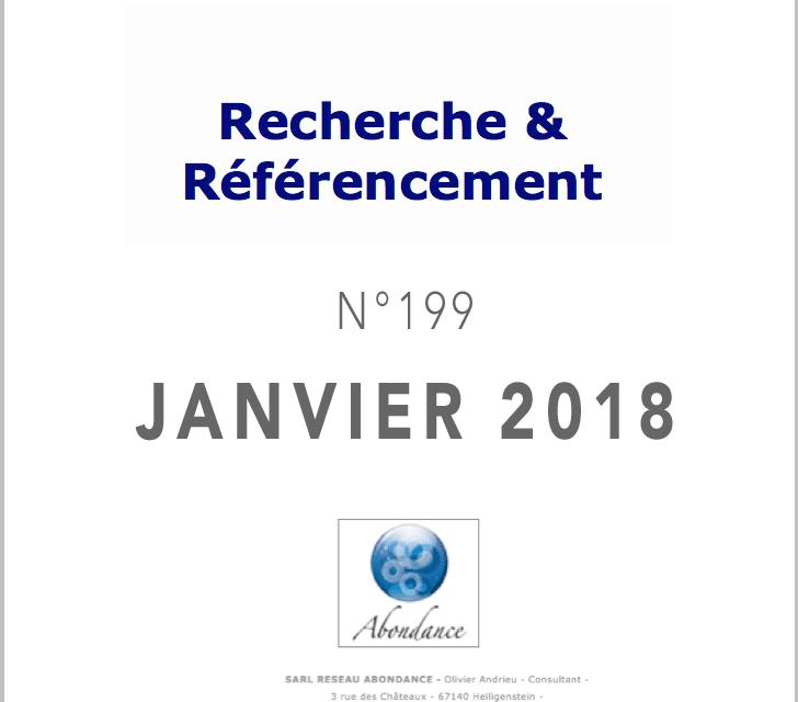 Recherche et Référencement : le Numéro 199 de Janvier 2018 est Paru !
