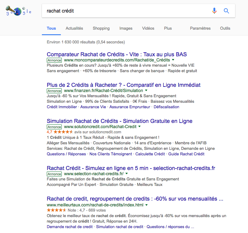 annonce-adwords-rachat-credit