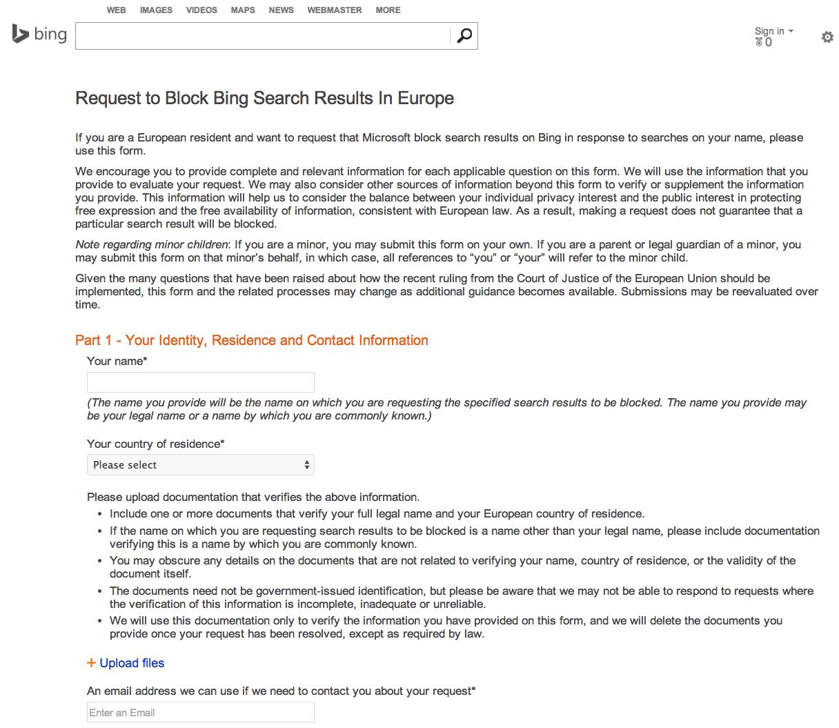 Bing Met En Ligne Son Formulaire De Droit A L Oubli Actualites Seo Et Moteurs Abondance