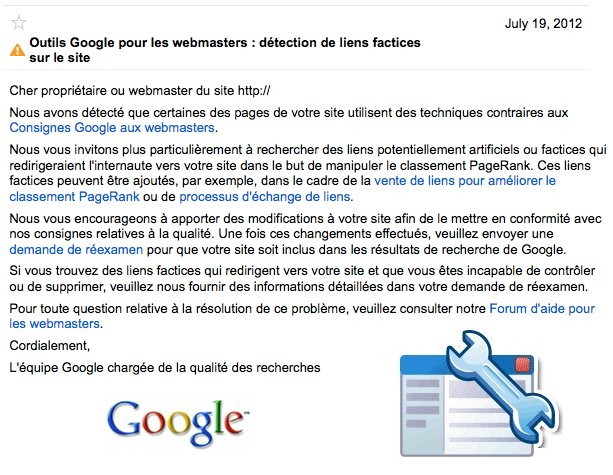 detection liens factices google