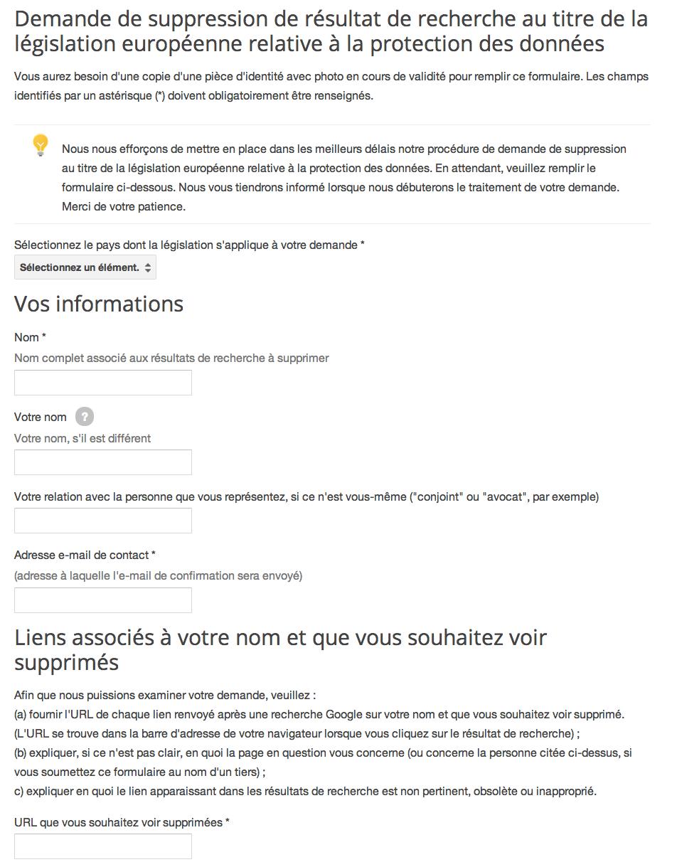 Google Propose Un Formulaire De Droit A L Oubli Et Recoit 12 000 Demandes En Un Jour Actualites Seo Et Moteurs Abondance