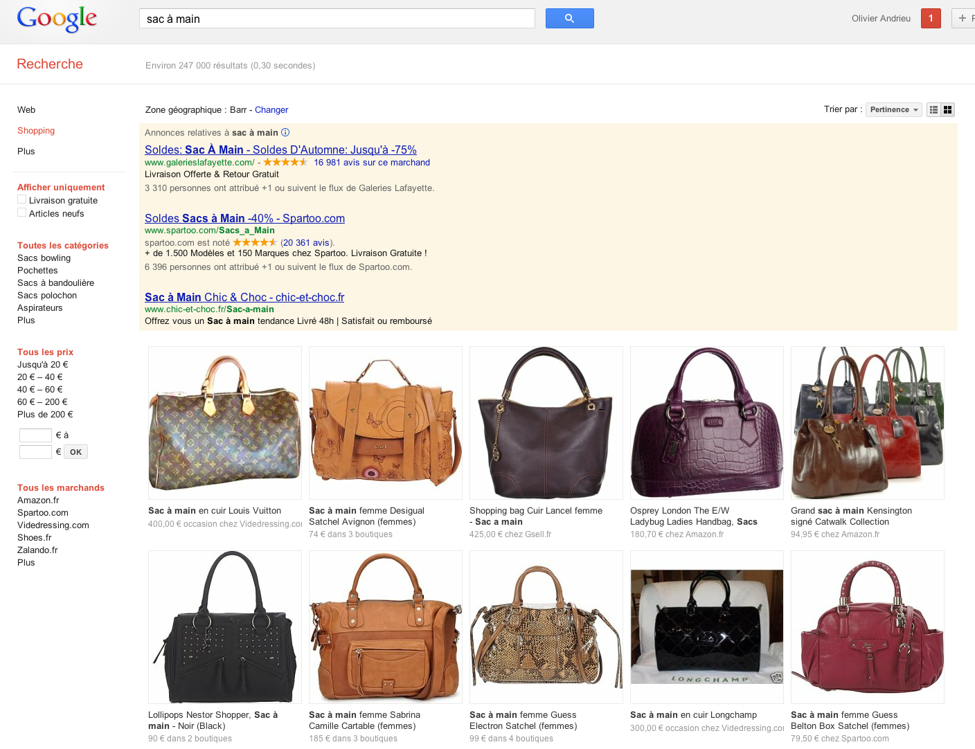 google-shopping-sac a main