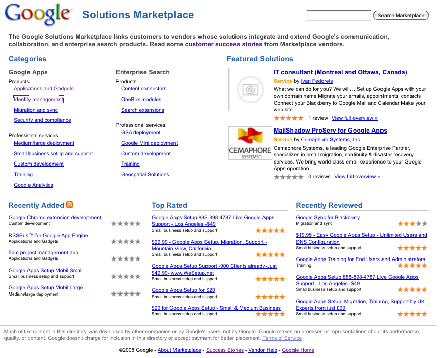 Google Solutions Marketplace
