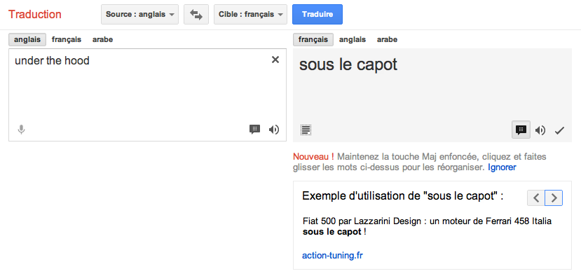 Google Traduction Exemple