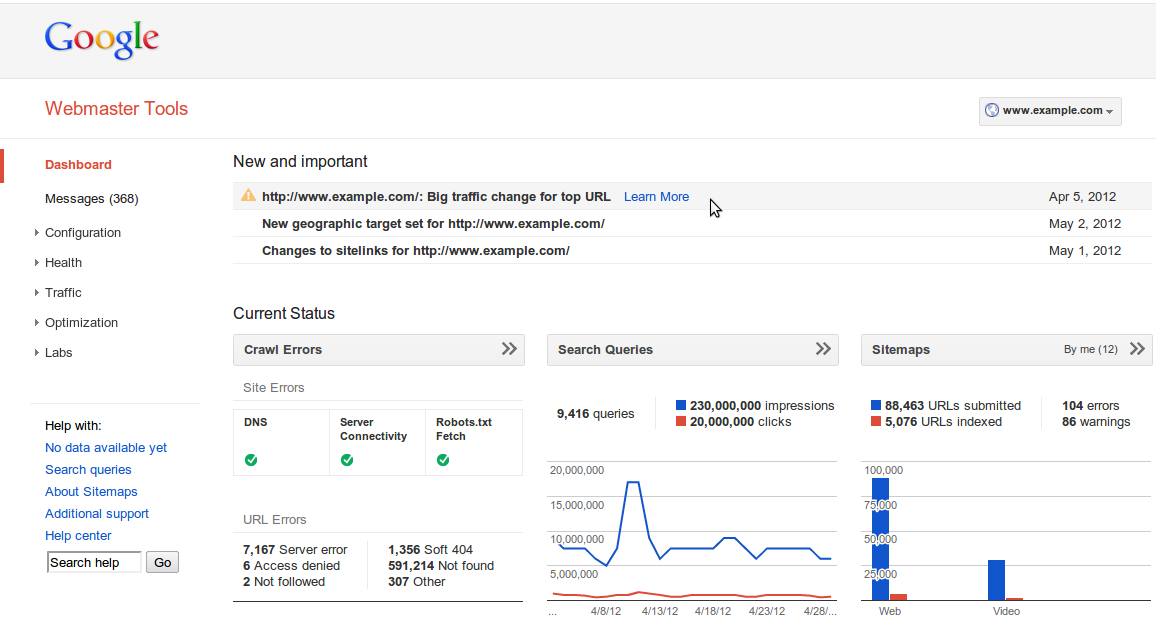 google-webmaster-tools-dashboard