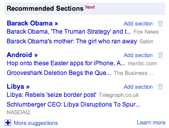 Google News - Recommended Sections