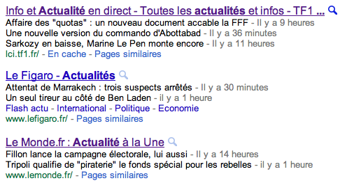 Snippet sites d'actualité