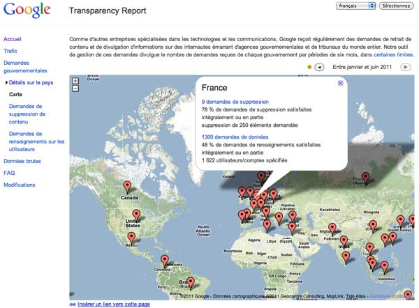 Google Transparency Report 2011