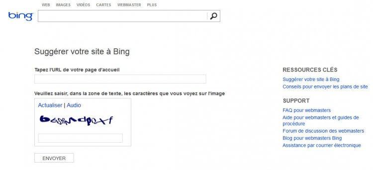 Bing supprime à son tour le formulaire de soumission d'URL