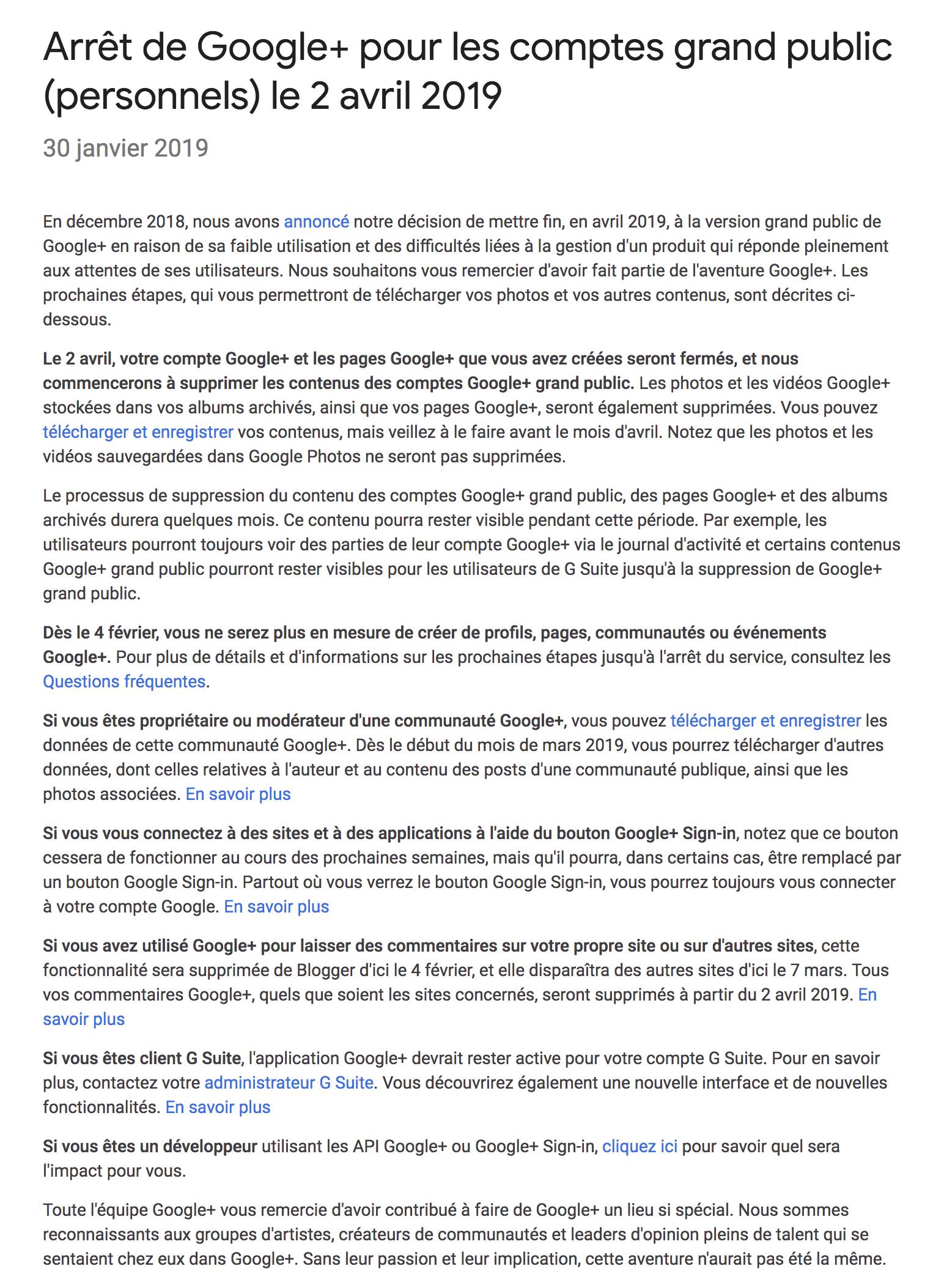 fcaa5b1f301d Message donnant plus d indications sur la fin de Google+ le 2 avril  prochain. Source   Google