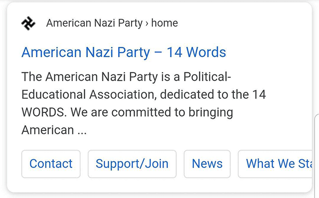 A site using a swastika as a favicon in mobile serp