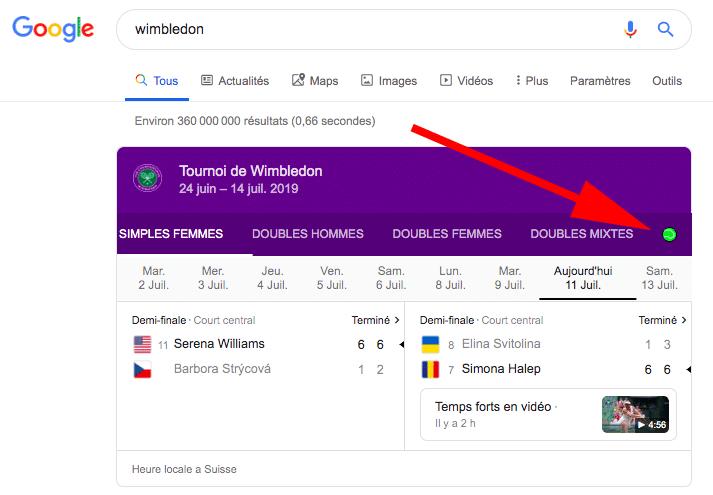 Easter egg Google Wimbledon - balle verte