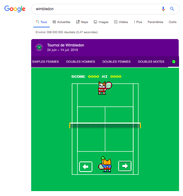 Easter egg Google Wimbledon