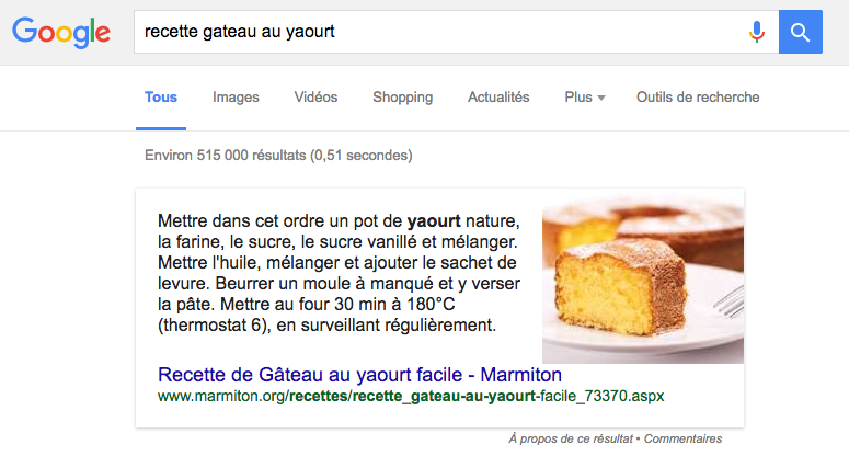featured snippet cuisine