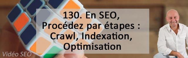 En SEO, Procédez par étapes : Crawl, Indexation, Optimisation – Vidéo SEO numéro 130