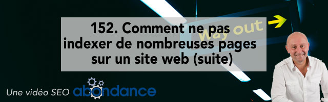 Comment ne pas indexer de nombreuses pages sur un site web (suite) ?  Vidéo SEO Abondance N°152