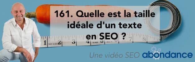 Quelle est la taille idéale d'un texte en SEO ? Vidéo SEO Abondance N°161